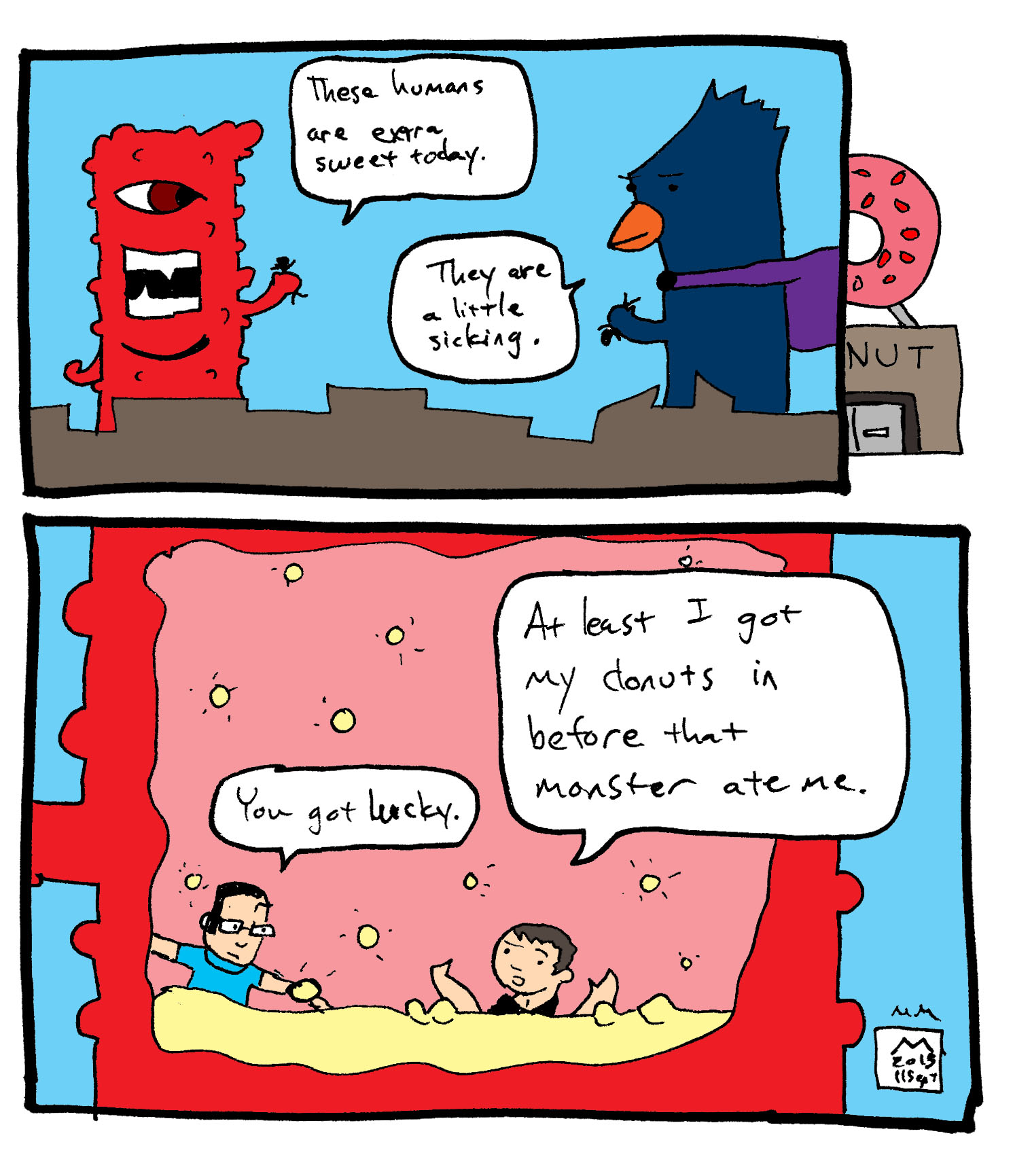 monster comic - donuts